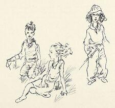 RICHARD ZIEGLER - DREI KINDER AM STRAND - Stencildruck 1931