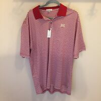 Peter Millar Crown Crafted CC Red And White Striped  NWT Cotton Polo Golf shirt