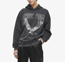 Anine Bing Rowe Hoodie Eagle Washed Black Size Small