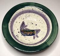 "VTG 1995 Julie Ueland Backsplash Of White Salmon WA Stoneware Fish Bowl 9.25"""
