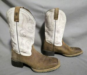 MENS ARIAT BROWN LEATHER EMBROIDERED COWBOY HIKING WORK BOOTS SZ 8 B