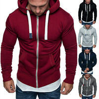 Autumn Winter Men's Hooded Sweatshirt Long Sleeve Zip Slim Coat Jacket Plus Size