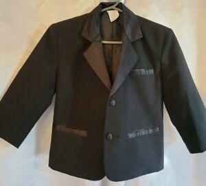 Toddler Boy 2 Years Black Long Sleeve Classic Blazer Tuxedo Jacket Suit EUC
