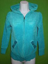 Circo girl turquoise cotton velvet long sleeve hoodie sweatshirt size L 10-12