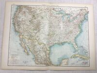 1899 Antique Map of The United States of America USA 19th Century Original
