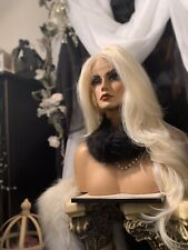 HOT!  Human Hair Blend, LACE FRONT,Long, Multipart, H.F Platinum Blonde Wig!
