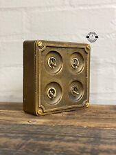 More details for 4 gang 2 way antique bronze solid metal light switch industrial bs en approved