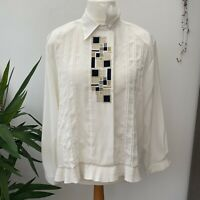 Jacques Vert Cream Blouse Geometric Embroidered Pattern Frill Hem Sz 18 20