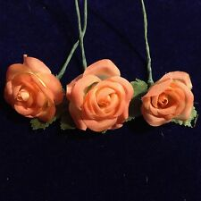 """Vintage Millinery Flower 1 1/2"""" Rose 3pc Lot Peach Melon for Hat or Hair Y224"""