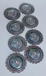 Vintage Sterling Silver Navajo Hand Cast Concho Belt Slides No Buckle