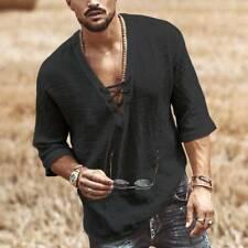 Mens Linen Long Sleeve Shirt Cool Loose Casual Shirts Summer Top T-Shirt New #vi