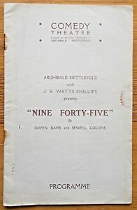 Nine Forty-Five 9.45 programme Comedy Theatre 1925-6 Frederick Forrest