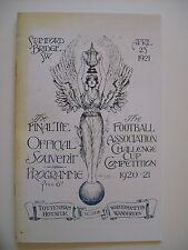 1921 FA Cup final programme, Ticket & free teamsheet Tottenham v Wolverhampton.