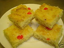 6 HOMEMADE VEGAN CAKE COCONUT & CHERRY SQUARES - EGG & DAIRY FREE