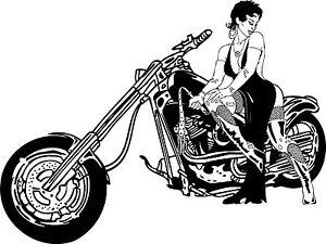 Hog Lady Harley Motorbike - Vinyl Wall Art Decal Sticker