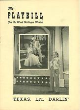 1950 Playbill TEXAS LI'L DARLIN Johnny Mercer musical Kenny Delmar barbara hale