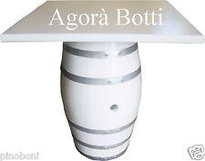 Botti/botte Tavolo per pub con piano quadrato,  bianca e con cerchi argentati