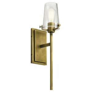 Kichler Alton Wall Sconce 1Lt, Natural Brass, Clear Seeded - 45295NBR