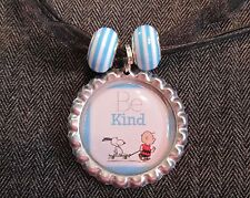 BE KIND Black Ribbon Bottle Cap Bling Charm Necklace Stripe Beads Charlie Snoopy