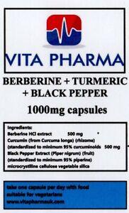 BERBERINE TURMERIC + BLACK PEPPER 1000mg 120 caps BLOOD SUGAR WEIGHT LOSS