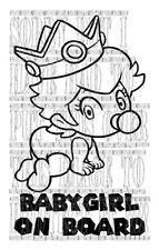 Cute Princess Peach baby girl on board super mario kart decal vinyl sticker sign