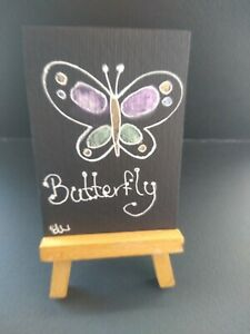 ELW Original, Aceo Cards. Butterfly Black paper, special shimmer paint