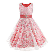Girls Floral Lace Party Flower Girls Dress Birthday Wedding Bridesmaid Prom Gown