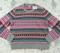 NWT J. Crew Women's F7828 Fair Isle Knit Merino Wool Bld Sweater Size X Large XL