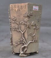 """6"""" Chinese fengshui tibet silver pine peach bamboo statue brush pot pencil vase"""