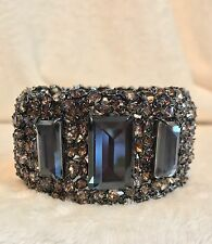 New ALEXIS BITTAR Brown Crystal Encrusted Bangle Bracelet, 3 Quartz Stones