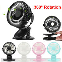 Portable Mini USB Rechargeable Cooling Fan Clip On Desk Table Baby Stroller