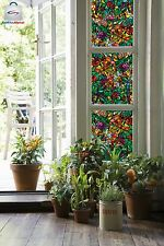 Beautiful Colorful Stained Glass Window Cling Film Birds Flowers Dragonfly Bugs