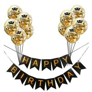 """12"""" Gold Confetti Balloon Happy Birthday Banner Bunting Hanging Party Decor NEW"""