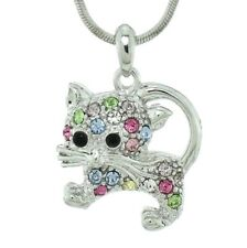 """Cat Multi Color Made With Swarovski Crystal Pet New Pendant Necklace 18"""" Chain"""