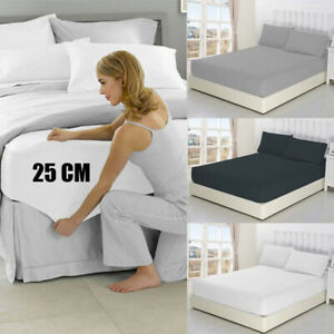 Soft Extra Deep Fitted Sheet Double Queen King Size Bed Sheets Pillows NO FLAT