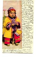 Cute Chinese Baby Seated on Chair-Colorful Clothes-Vintage 1907 Postcard