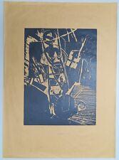 Felix Droese Unser Leben Holzschnitt 1982 handsigniert u. datiert