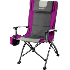 Folding High Back Chair Portable Outdoor Camping Director Seat w/ Cup Holder