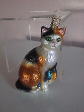 Old World Calico Cat Glass Ornament