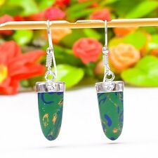 "Magnificent Copper Azurite Malachite Gemstone Jewelry Earring 1.81"" E-397"