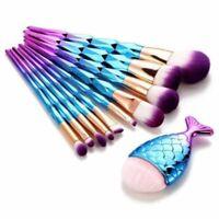 Mermaid Fishtail Makeup Brush Set Eye Shadow Eyeliner Foundation Foundation W2U3