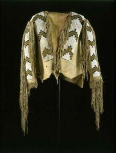 Old 1800 Style Beige Buckskin Suede Leather Beaded Fringe Powwow War Shirt SX887