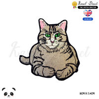 Fat Cat Cute Cat Embroidered Iron On Sew On PatchBadge For Clothes etc
