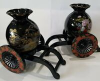 2 Vintage 1950's Japan Black Porcelain Japanese Vase Hand Painted On Cart Stand