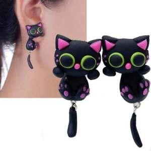 1 Earrings Pair 3D Cat Earring Cat Cats Lobe Screw Pendant Costume Jewelry