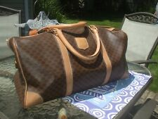 Auth Celine brown tan leather & coated canvas duffel travel tote gym duffle bag