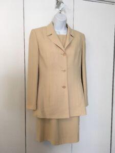Petite Sophisticate Dress Suit Size 4 Beige Rayon Wool Career
