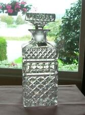 "9"" Crystal WHISKEY SPIRIT DECANTER Criss-Cross & Thumbprint LAUSITZER Germany"