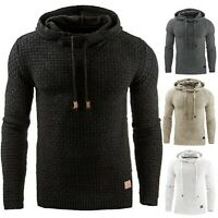 Winter Men's Sweater Jacket Sports Casual Colorblock Thicken Stand Collar Hooded