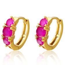 Pretty New 14K Yellow Gold Filled 3 Gemstone Ruby Red CZ Huggie Hoop Earrings